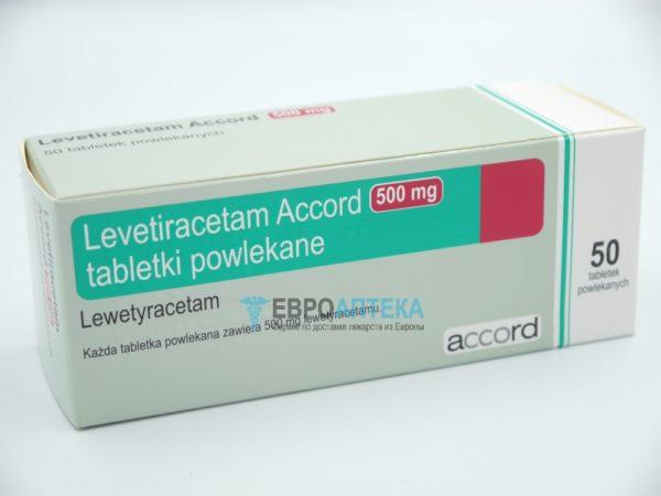 Леветирацетам Аккорд 500 мг, №50 - таблетки. Фото 1